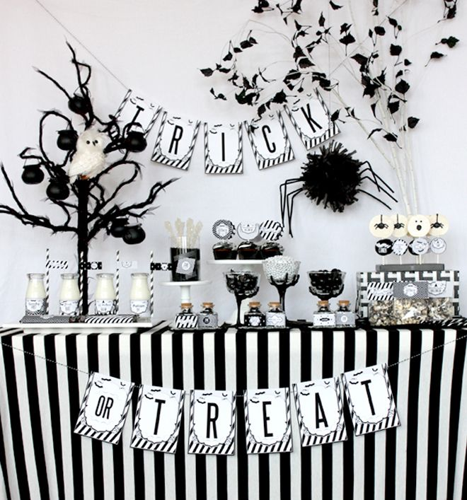Black + White Stripes for Halloween! I love it!! See the full party details + DIY ideas!