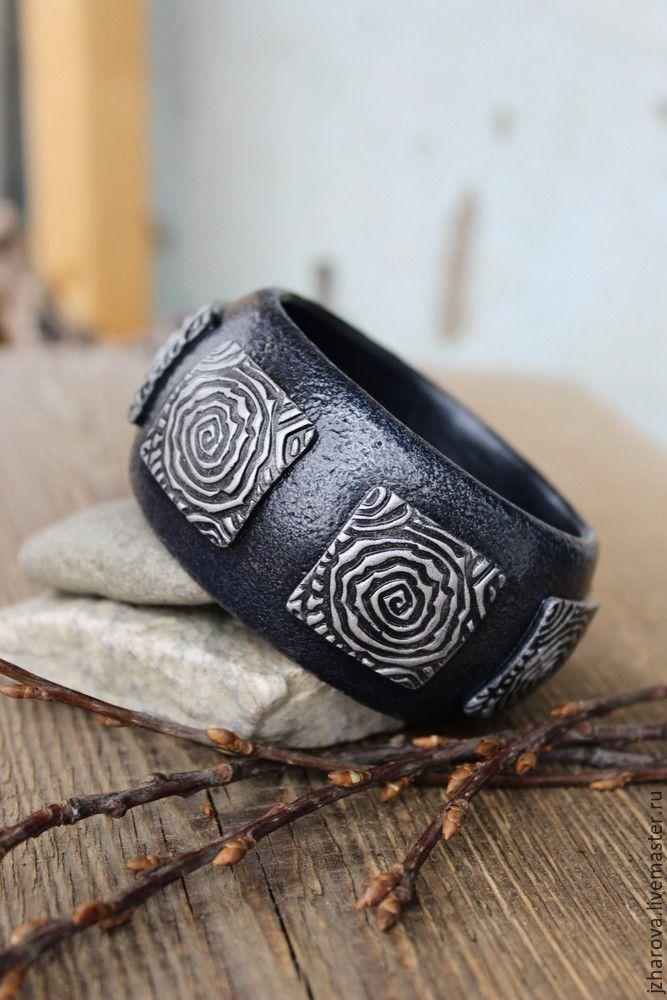 Широкий браслет из полимерной глины мастер класс как сделать #1