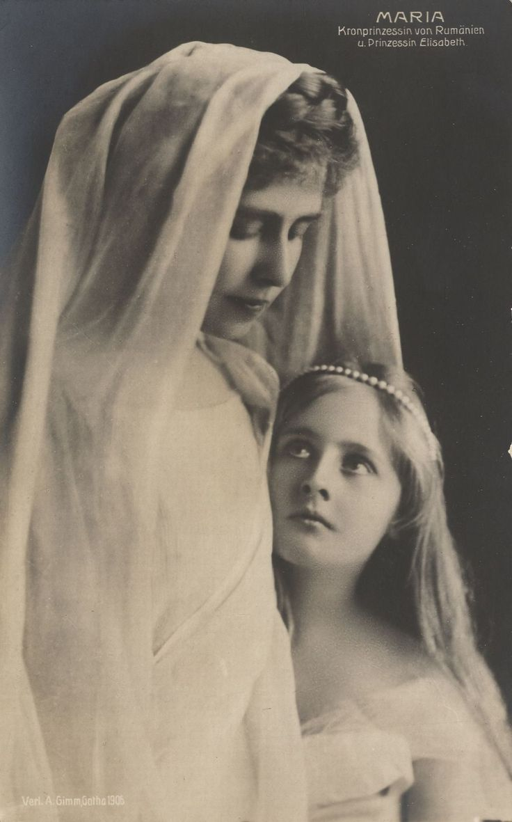 Queen Marie of Romania and daughter, Pss Elizabeta. Early 1900s