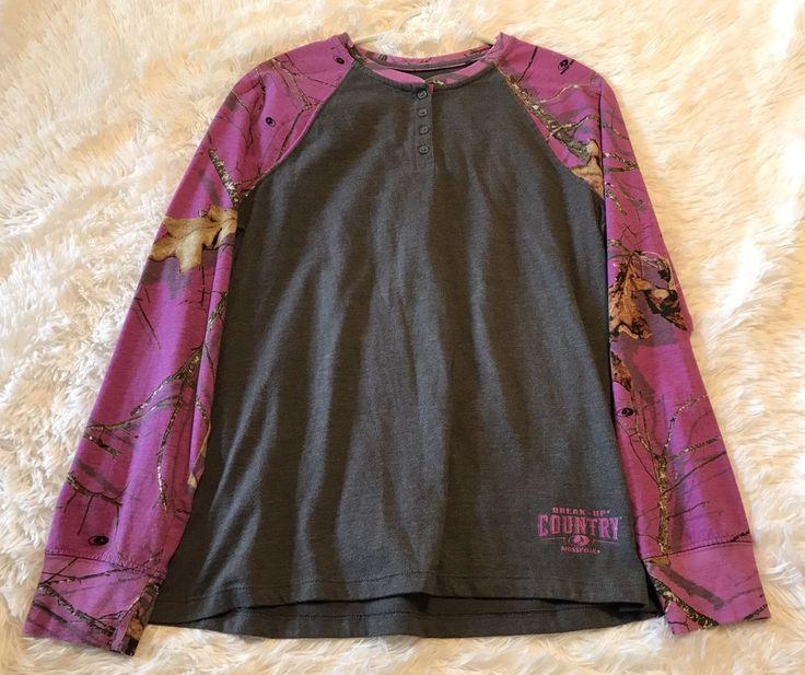 Womens MOSSY OAK Large L Long Sleeve Tee Shirt Pink Camo Gray Break Up Country #MossyOak #LongSleeveTee