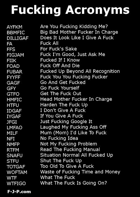 Funny fuck acronym list [SNAFU and FUBAR should be the oldest of these acronyms, both dating from WWII (1939-1945.)]