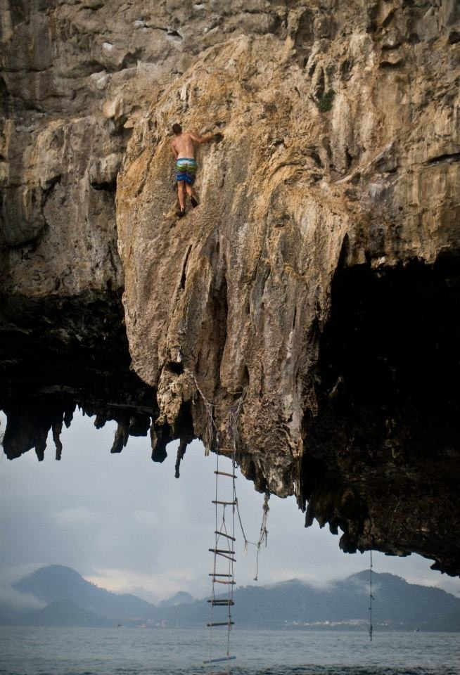 Deep-water free solo climbing in Raylay Thailand  #ThisIsNoVacation