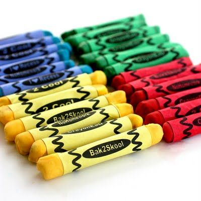Edible crayons. Pretzel rods, with the ends dipped in melted, colored chocolate. Then paper wrapped around them.