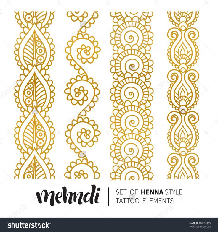 Traditional Indian Style Interior Design: Vector Illustration Of Gold Mehndi Pattern, Set Of
