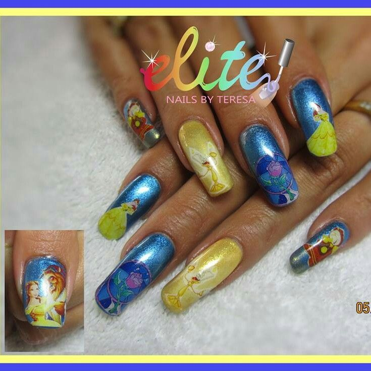 Disneys Beauty and the Beast nails yellow and blue