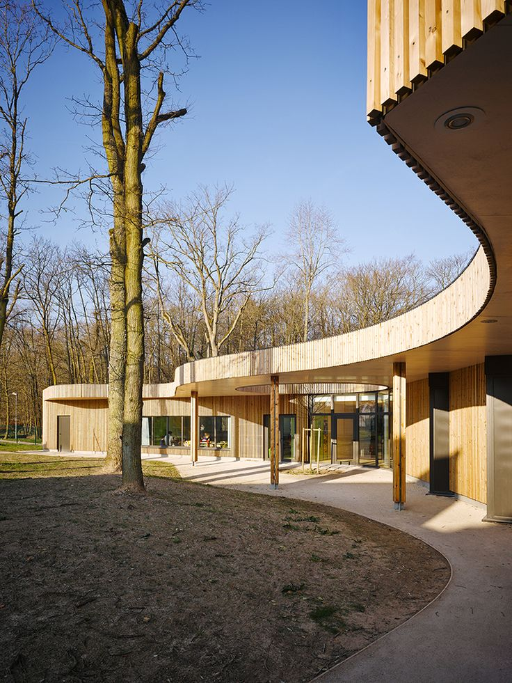 Gallery - Children's House / MU Architecture - 8 wood siding, curved entry, exterior, wood columns
