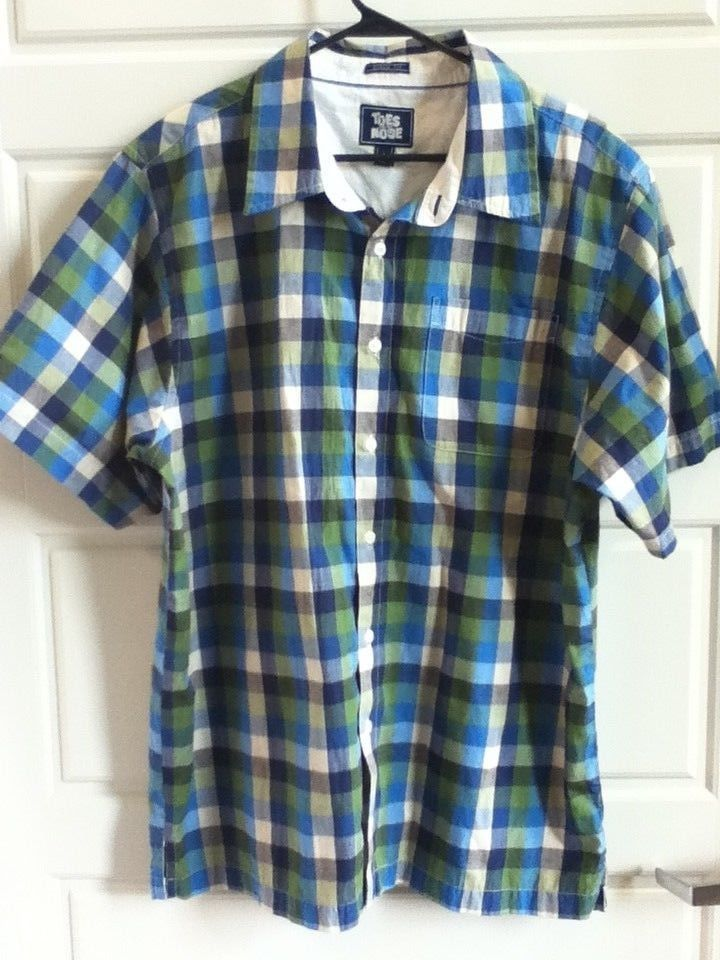 fe6fb26d Toes On The Nose Mens Check Plaid Shirt Button Up Short Sleeve Size L Multi  Blue #ToesontheNose #ButtonFront