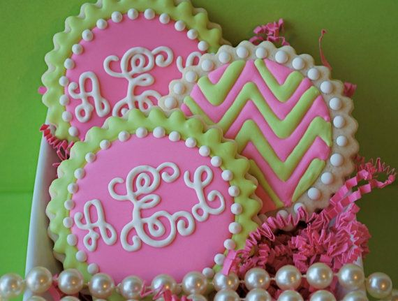 Preppy Script Monogram and Chevron Decorated Sugar Cookies (12) via Etsy