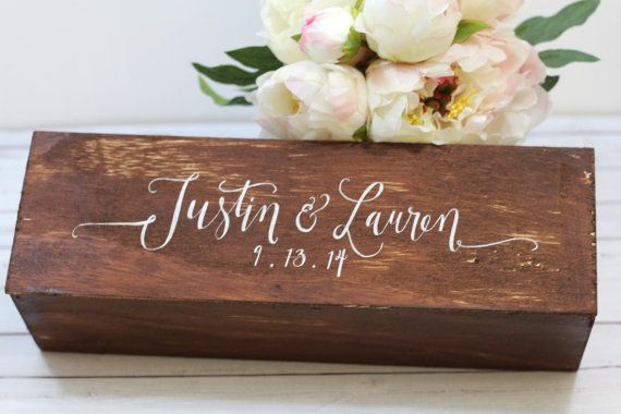 Personalized Wedding Wine Box - Wedding Gift Keepsake- Wine Box Ceremony - by THE PAPER WALRUS