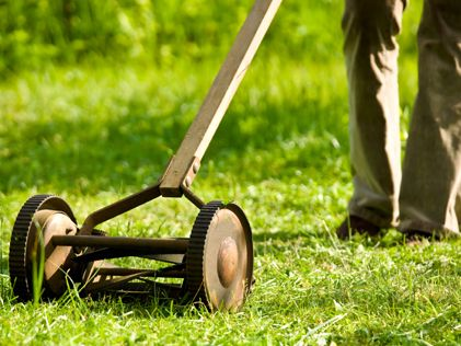 Push mower.  Hard work, but fun! I cuy grass with one just like this.