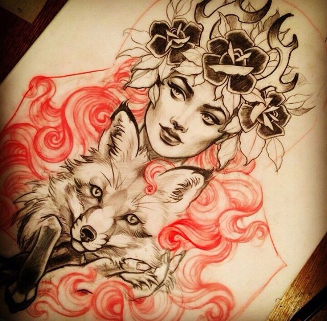 Fox, antlers/rose headdress