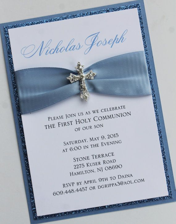 blue baptism communion invitation with vintage sparkling cross