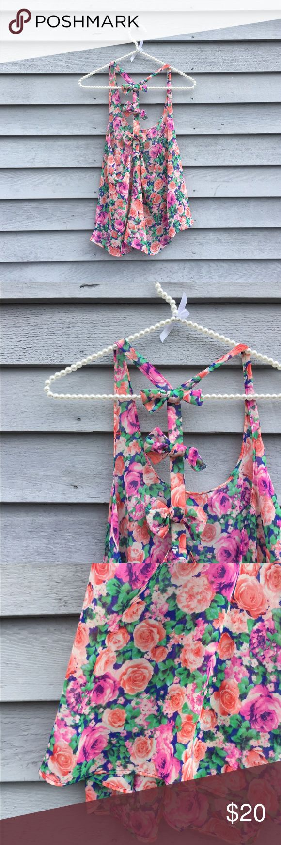 Sheer Floral Bow Back Tank Lightweight flowy tank top, floral pattern with a bow back detail. Forever 21 Tops Tank Tops