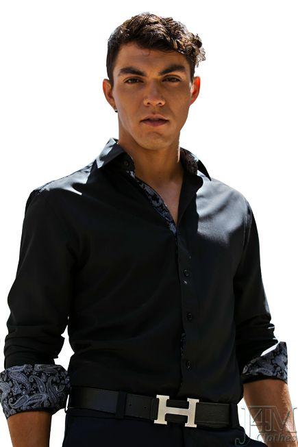 Camisa-Negra-Interior-Estampado-Gris
