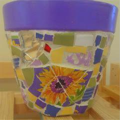 Purple Sunflowers Mosaic Garden Pot (2012)~ Angela Harrington (Mosaic  Heartworks)