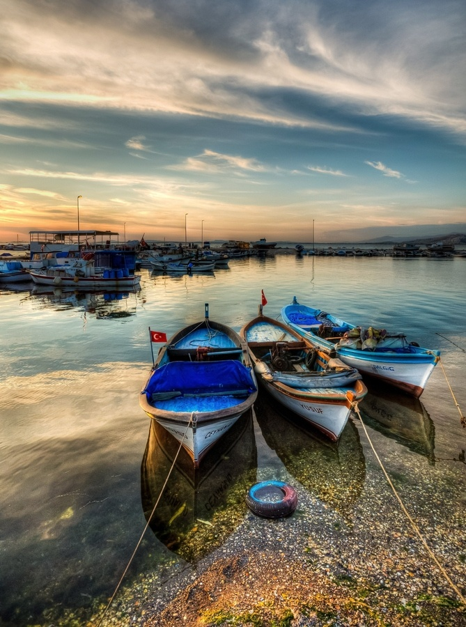 Sunset Boat Reflections, Izmir, Turkey | by Nejdet Duzen, via 500px