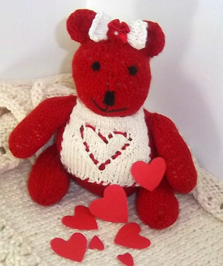 Red Valentines Teddy Bears, Red Valentines Gifts, Organic Teddy Bears, Heart Patterns, Heart Shapes, Sustainable Valentines, Eco Soft Toys by KnitSewGreen on Etsy
