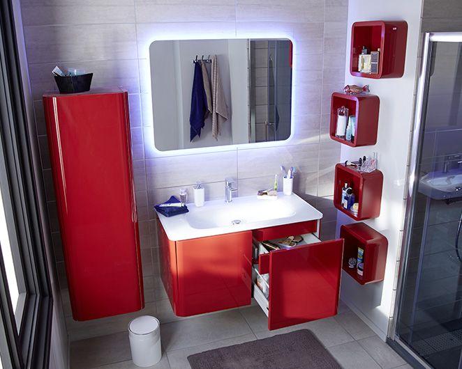 accessoires salle de bain rouge et gris
