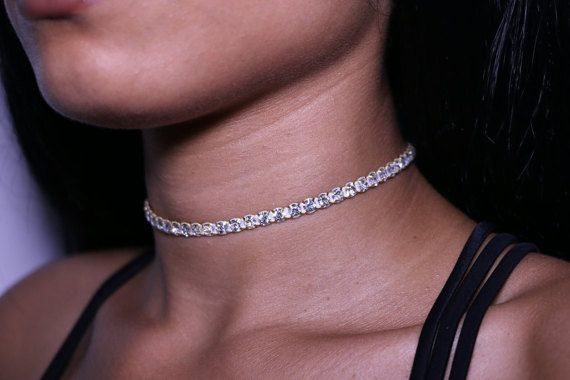 Diamond Choker Necklace 1 Row Gold by JASCLASSIC on Etsy