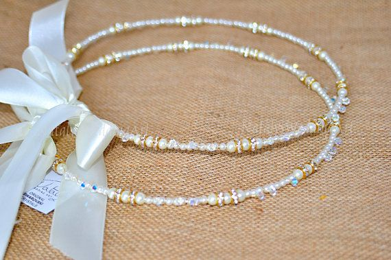 Pearl, Swarovski and Gold Rhinestone Stefana, $137.50 at the Greek WEdding Shop ~ http://www.greekweddingshop.com/