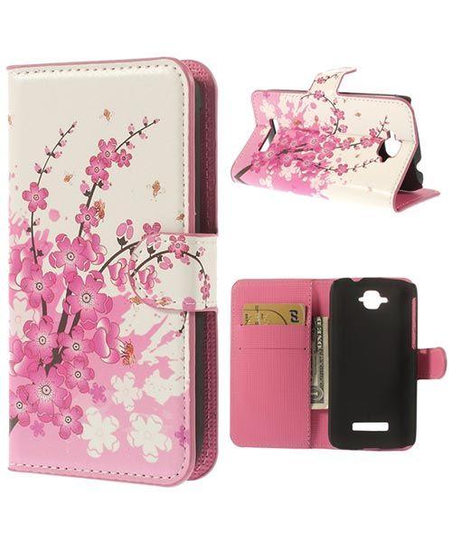 Alcatel One Touch Pop C7 Lederen Wallet Flipcase - Bloesem