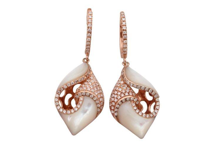 Beautiful Earrings with Natural White Shell & White Diamond, 925 Sterling Silver #FacetsJewels #NaturalWhiteSeaShellEarrings