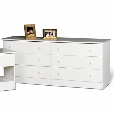 Shell these and paint wooden knobs and top of dresser to match blue of the room. Or, paint them blue and then shell them white.  Prepac - White 6 - Drawer Dresser - WHD-5828-6K