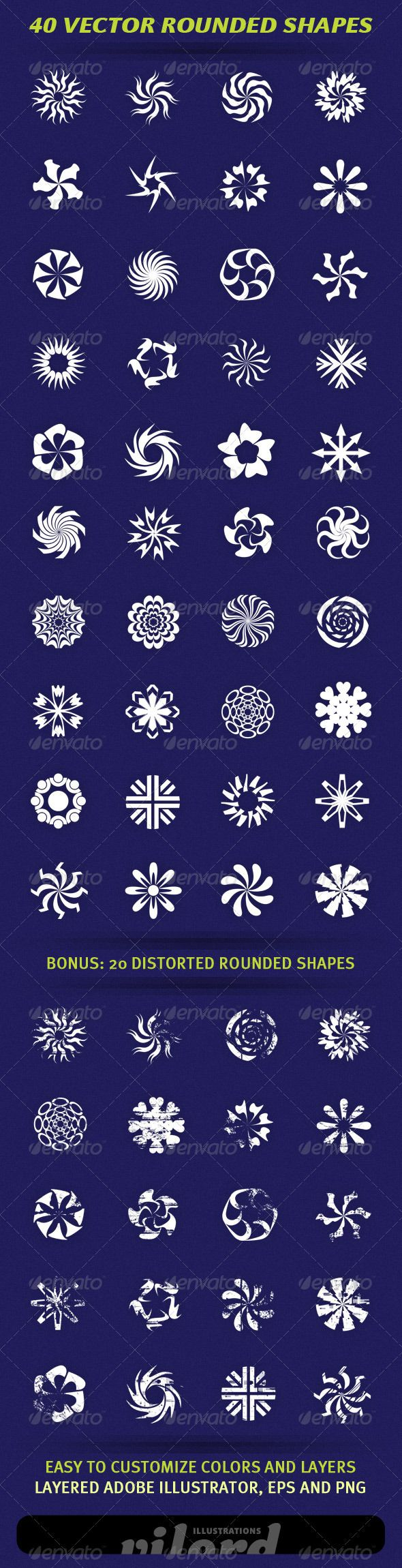 40 Vector Rounded Shapes