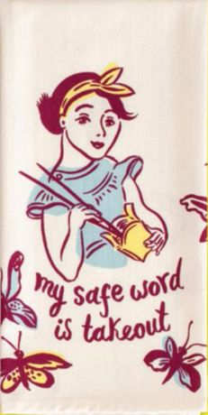 My Safe Word is Takeout Dish Towel in Purple and White – The Bullish Store