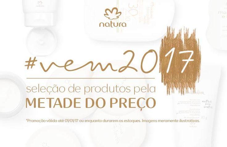 Confira na Rede Natura uma seleção especial de produtos pela metade do preço. Promoção válida 26/dez a 01/jan ou enquanto durarem os estoques.  Produtos pela metade do preço Por tempo limitado. Aproveite!