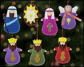 Seven-Piece Nativity Ornament Set - Make these from felt?