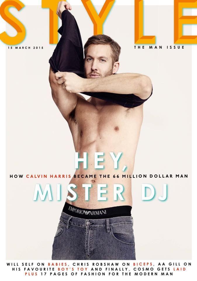 Calvin Harris gömleksiz Sunday Times Stil Kapak Shoot Mart 2015 Calvin Harris Sunday Times Style Shirt Kaybediyor