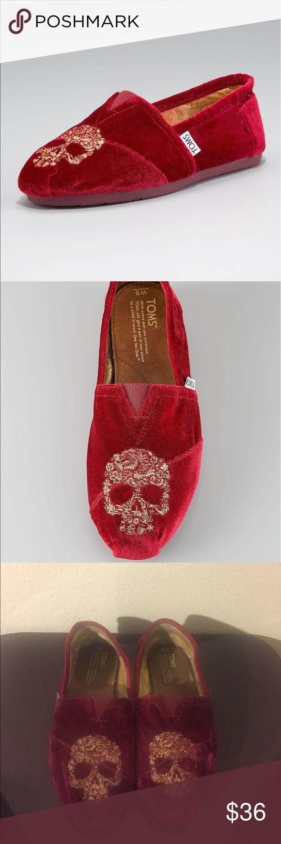 Neiman Marcus Special Edition Velvet Toms Used (about 8-9 times) Special Edition Neiman Marcus velvet toms wth gold skull embroidered detail TOMS Shoes