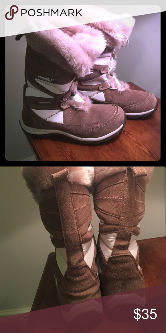 Fuzzy Winter boots! Tan Khombu boots with cinch button! Absolutely love these! Khombu Shoes Winter & Rain Boots