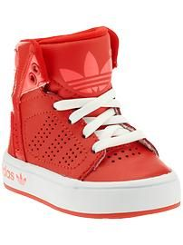 red adidas high tops for babies and kids