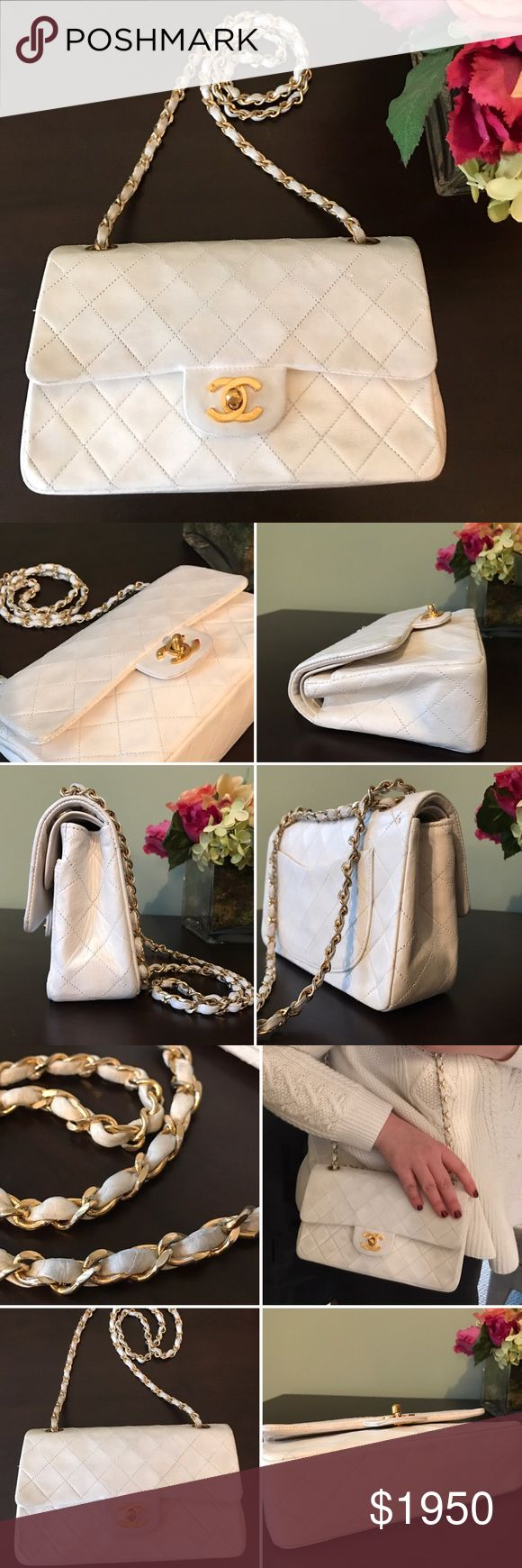Chanel double flap timeless classic bag purse Gorgeous. Some marks on leather and chain. Very clean. Vintage beauty. Be bold in winter white (I.e. Cream) with stunning gold hardware. Chain can be double up or worn long. Corners in tact. Some rubbing as shown in pics. See other listing for more photos! Thanks for looking!! 100% authentic. CHANEL Bags Shoulder Bags