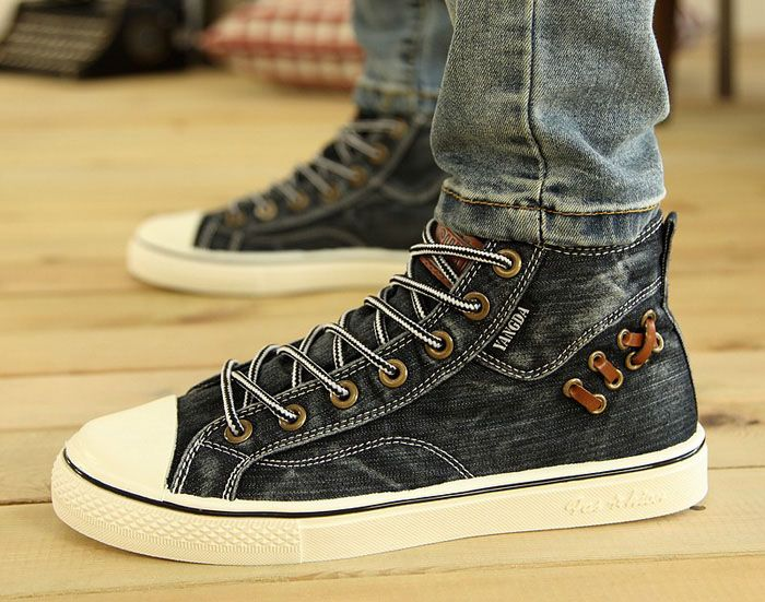 Preppy Splice and Lace-Up Design Canvas Shoes For Men
