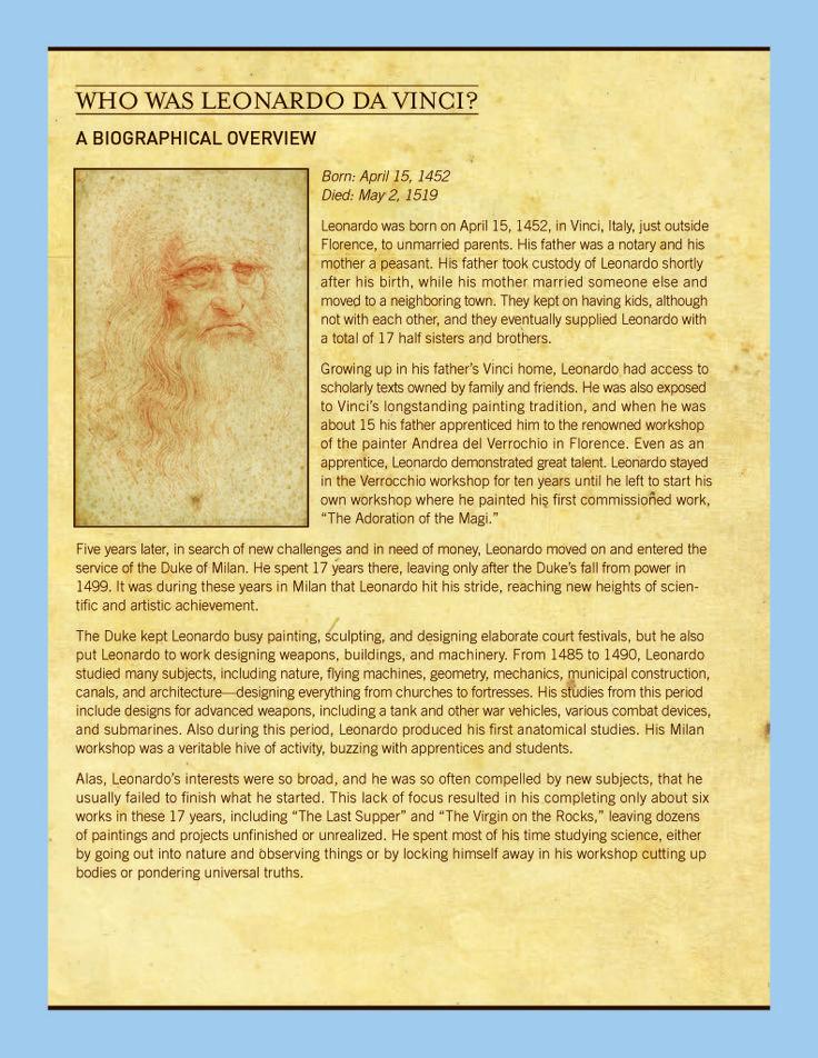 Great Leonardo Da Vinci Learning Activities using primary source documents &…