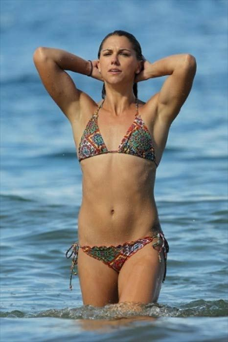 Soccer player Alex Morgan on the Hawaii beach in December 2012...