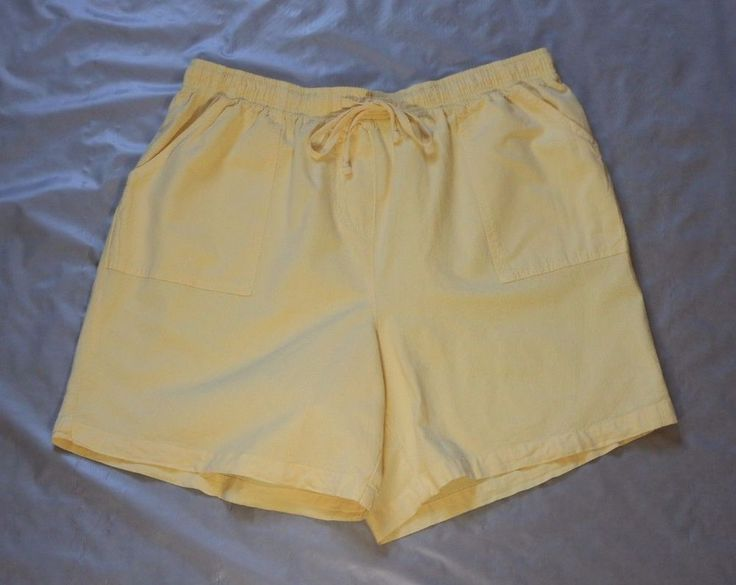 Basic Editions Women's Yellow Shorts XL Comfort Elastic Waist Band Free Shipping #BasicEditions #CasualShorts