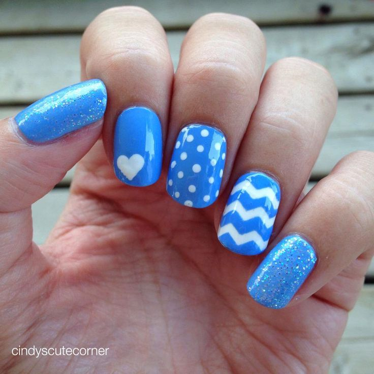 Baby Blue and White Nails. Inspired by Gianna from Nailstorming.