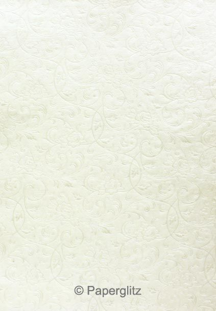 Handmade Embossed Paper - Olivia White Pearl A4 Sheets