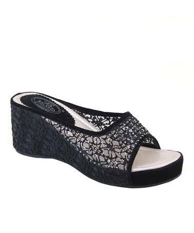Look what I found on #zulily! Black Rhinestone Crocheted Sandal #zulilyfinds
