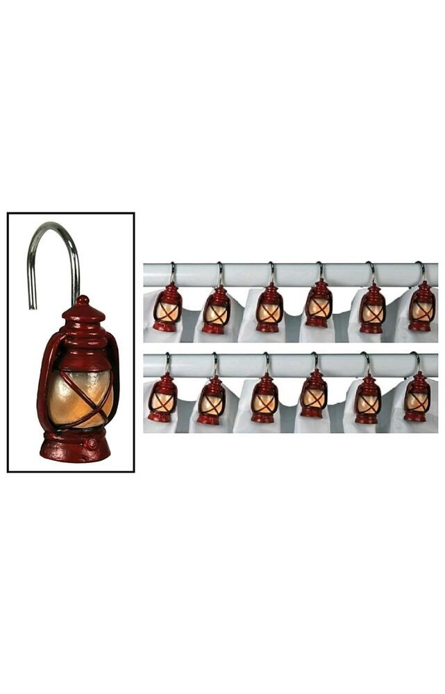 12 Red Lantern Shower Curtain Hooks By Rivers Edge Rustic Rv Cabin