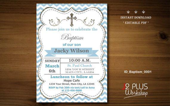 INSTANT DOWNLOAD Baptism Invitation Boy por J2PlusWorkshop en Etsy