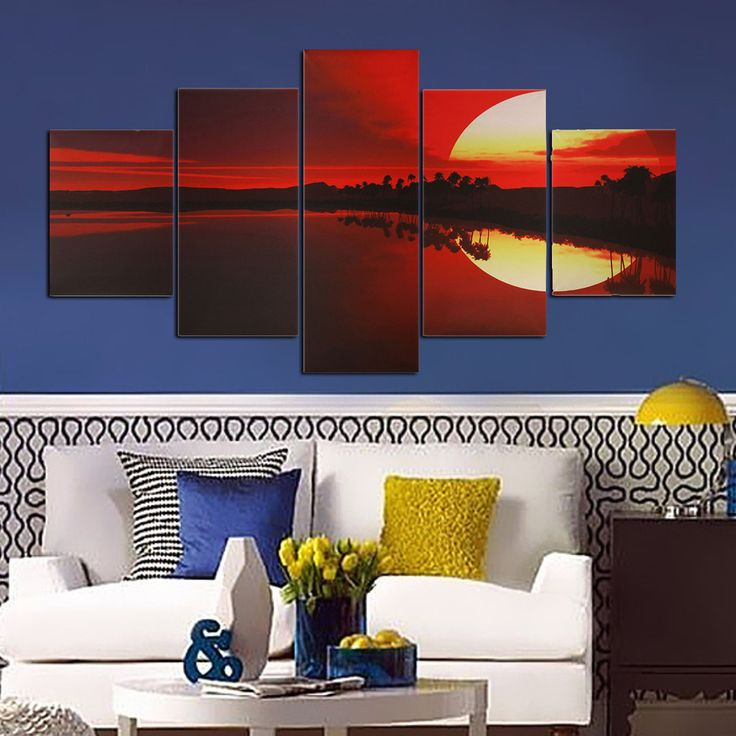 5PCS Frameless Sunset Landscape Canvas Painting Dusk Lakeside Picture Modern Wall Art - Newchic