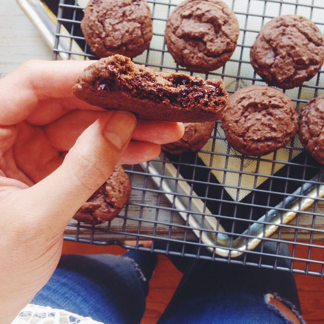 Double Chocolate Chip Cookies... gooey and delicious... glad I purposefully said only 2... hard to resist!