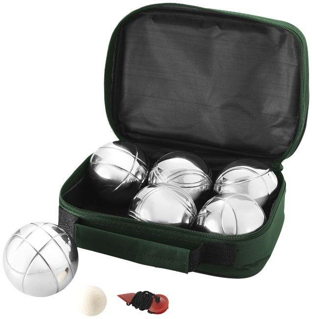 Jeu de boules avec housse de transport. 3x2 boules de pétanque en métal, cochonnet bois, et cordon de mesure, le tout dans une housse trés facile à transporter.