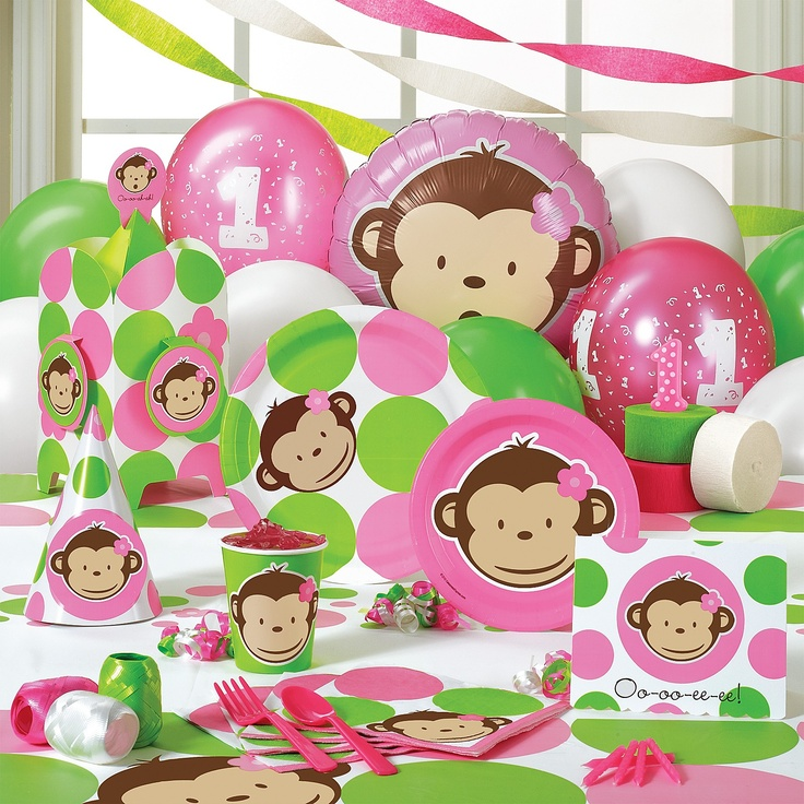 Mod monkey party decorations girl birthday party ideas for Monkey decorations