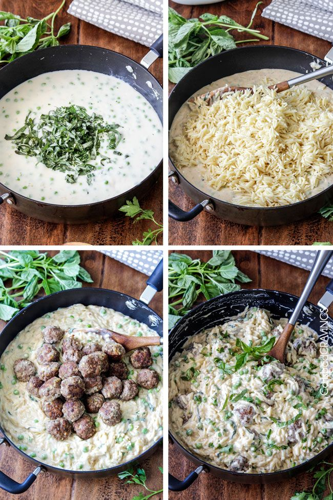 Parmesan Meatballs and Orzo in Mozzarella Basil Cream Sauce (Lightened Up) | http://www.carlsbadcravings.com/parmesan-meatballs-and-orzo-in-mozzarella-basil-cream-sauce-recipe/